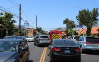 Fire trucks, refuse vehicles and delivery trucks add to the congestion on Broadway, between Alamitos and Redondo Avenues.