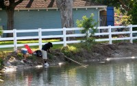 A MAN FISHES inside a portion of the Colorado Lagoon in Long Beach, which is now off limits.