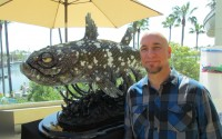 """William Keiffer with winning sculpture """"Perpetuity Reflecting Upon the Chapter of Man."""""""
