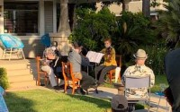 """THE NAPLES STRINGS trio comprised of Cellist Alan Mautner (left), violinist Larry Greenfield and violinist Elaine Tubinis perform at their June 20 """"COVID Concert Series"""" at 250 Newport Ave."""