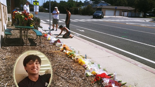 A HOMEMADE CROSS, flower bouquets, moving tributes written on the sidewalk in chalk, and memorial candles line that portion of Los Coyotes Diagonal north of Willow Street, where 16-year-old Aiden Gossage (inset) was mowed down by an alleged drunken driver on Sept. 4.