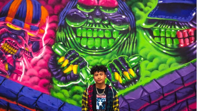 """14-YEAR-OLD artist Sterling Molldrem debuts his piece titled """"The Lab"""" at """"The World Is Yours,"""" an Art Realm show at the Ice House Art Complex in Long Beach."""