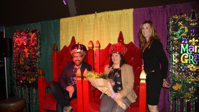 MARDI GRAS King Brian Addison, Queen Jeanin Pearce and Debra Fixen